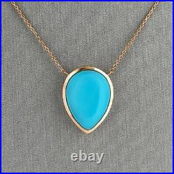 18K Yellow Gold Over Sleeping Beauty Turquoise Pendant with 18 Necklace in 18