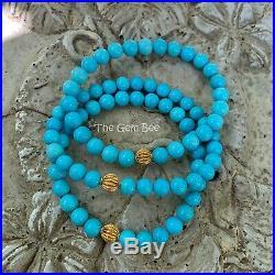 18K Yellow Gold Robins Egg Blue Sleeping Beauty Turquoise Round Bead Bracelet