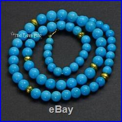 18K Yellow Gold Robins Egg Blue Sleeping Beauty Turquoise Round Bead Necklace