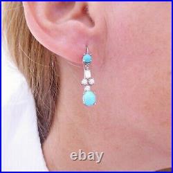 18ct gold baguette round cut diamond sleeping beauty turquoise earrings