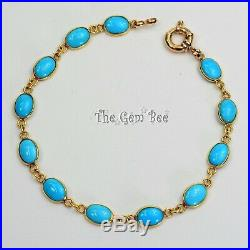 18k 14K Solid Yellow Gold Bracelet With Sleeping Beauty Turquoise Oval Bezel 7