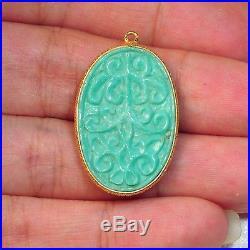 18k Gold Vermeil Carved Sleeping Beauty Turquoise Bezel Pendant Charm