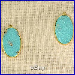 18k Gold Vermeil Carved Sleeping Beauty Turquoise Bezel Pendant Charm PAIR