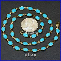 18k Solid Yellow Gold 18 INCH Necklace With Sleeping Beauty Turquoise Oval Bezel