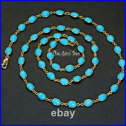 18k Solid Yellow Gold 24 INCH Necklace With Sleeping Beauty Turquoise Oval Bezel