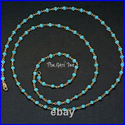 18k Solid Yellow Gold 36INCH Necklace With Sleeping Beauty Turquoise Round Bezel