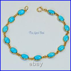 18k Solid Yellow Gold Bracelet With Sleeping Beauty Turquoise Oval Bezel 7 INCH