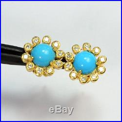 18k Solid Yellow Gold Fine Sleeping Beauty Turquoise Diamond Ear Studs Earrings
