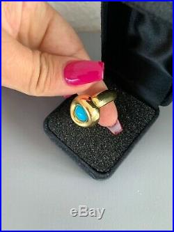 18k Solid Yellow Gold Fine Sleeping Beauty Turquoise Ring Size 7