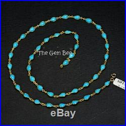 18k Solid Yellow Gold Necklace With Sleeping Beauty Turquoise Pear Bezel 24 inch