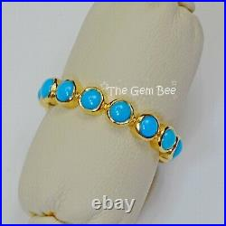18k Solid Yellow Gold Sleeping Beauty Turquoise Eternity Ring SIZE 6