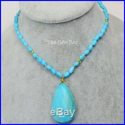 18k Solid Yellow Gold Sleeping Beauty Turquoise Funky Bead 23 Pendant Necklace