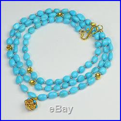 18k Solid Yellow Gold Sleeping Beauty Turquoise Necklace 23.8 Necklace