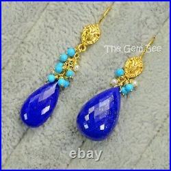 18k Solid Yellow Gold Sleeping Beauty Turquoise Seed Pearl Lapis Lazuli Asymmetr