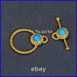18k Solid Yellow Gold Toggle Clasp Finding With Sleeping Beauty Turquoise Bezel