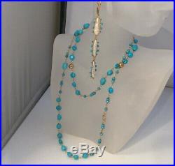 18k Yellow Gold & Sleeping Beauty Turquoise Long beautiful Necklace