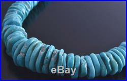 19-1/2 Single Strand Sleeping Beauty Turquoise Slender Nugget Necklace 8J31N