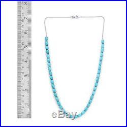 19.25Ct Arizona Sleeping Beauty Turquoise Oval Necklace Size 18 Inches