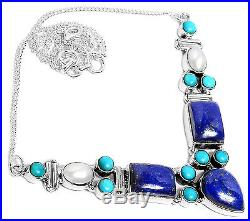 19g Lapis, Pearl & Sleeping Beauty Turquoise 925 Silver Necklace Jewelry SN17155
