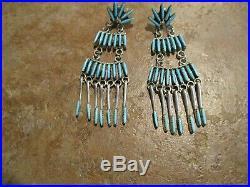 2 3/8 Zuni Sterling SLEEPING BEAUTY NEEDLE POINT Turquoise Chandelier Earrings