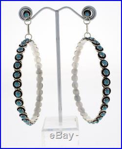 2.5 Sleeping Beauty Turquoise Hoop Earrings By Zuni Artist Florenda Lonasee