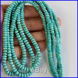 2.6MM-5.6MM Sleeping Beauty Turquoise Smooth Rondelle 18.25 inch strand