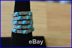 2.70ct Sleeping Beauty Turquoise / Zircon Ring Platinum over Sterling Silver Sz6