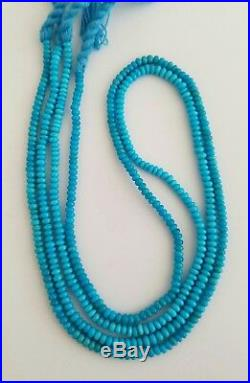 2 Strands Natural Sleeping Beauty Turquoise Donut Beads Necklaces