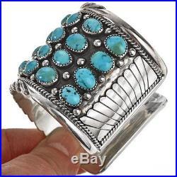 2 Wide Navajo Sterling Bracelet Sleeping Beauty Turquoise Cluster Cuff