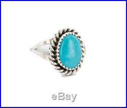 $200 Tag Silver Navajo Handmade Sleeping Beauty Turquoise Native Ring Size 6