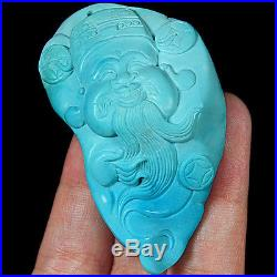 201.1CT 100% Natural Sleeping Beauty Turquoise Carving Cai Shen Pendant CST6