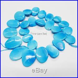 262CT Old Stock Sleeping Beauty Turquoise Smooth Slab Slice Beads 16 Strand