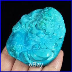 265.3CT 100% Natural Sleeping Beauty Turquoise Carving Arhat CST35