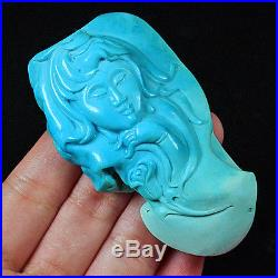 269.05CT 100% Natural Sleeping Beauty Turquoise Carving Girl Pendant CST7