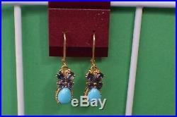 3.50ct Sleeping Beauty Turquoise / Iolite Earrings 14K Gold over Fine Silver