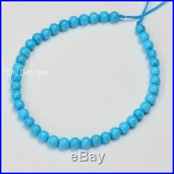 3.6MM Old Stock Sleeping Beauty Turquoise Smooth Round Beads 6 inch strand