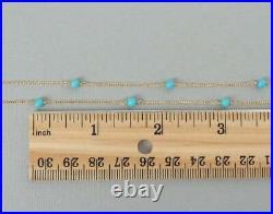 3.6ct Round Sleeping Beauty Turquoise Bead 14K Yellow Gold OverLayering Necklace