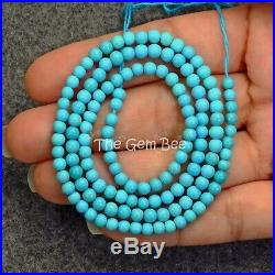 3.7MM-4.2MM Old Stock Sleeping Beauty Turquoise Smooth Round Beads 18.6 strand