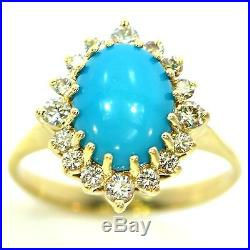 3 Ct Sleeping Beauty Turquoise & Diamond Ring 14k Yellow Gold Natural Cabochon