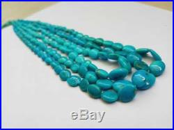 3 Strings Arizona Natural Sleeping Beauty Turquoise Oval Beads Necklace 22 long