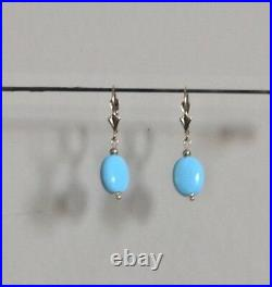 30 MM Tall 14kt Earrings Sleeping Beauty Turquoise Drops with Gold Beads SWEET