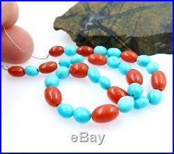 32 Gorgeous Fine Aaaaa Sleeping Beauty Turquoise & Italian Red Coral Beads 7.30