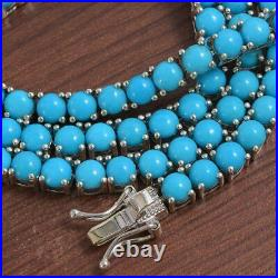 33.12 ctw Sleeping Beauty Turquoise Tennis 16 Necklace in 14K White Gold Over