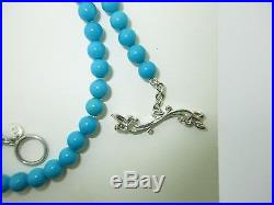 $3300.00 CATHY CARMENDY Silver Natural Sleeping Beauty Turquoise Necklace 6.0mm