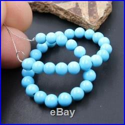 34 RARE GENUINE AAAAA SLEEPING BEAUTY BLUE TURQUOISE ROUND BEADS 4.6 11.45cts