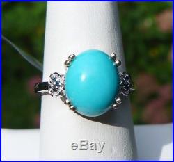 4.12Ct Sleeping Beauty Turquoise & Blue Diamond Sterling Silver Ring, Sz 8, Cert