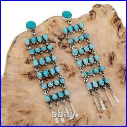 4.25 Zuni Turquoise Earrings SLEEPING BEAUTY Sterling Silver LONG Dangles Old