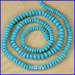 4.2MM-6.2MM Sleeping Beauty Turquoise Plain Rondelle 18.25 inch strand