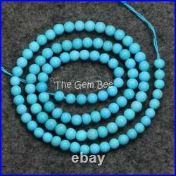 4.2MM Old Stock Sleeping Beauty Turquoise Smooth Round Beads 18.2 inch strand