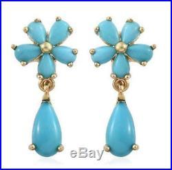 4.40ct Arizona Sleeping Beauty Turquoise Earrings in Gold OL 925 Sterling Silver